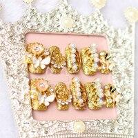 20 unids/set 3D Etiqueta Oro Cristal Rhinestone de Discoteca Consejos Falsas Uñas Uñas de Novia con Cola Mujeres Joyería de La Boda