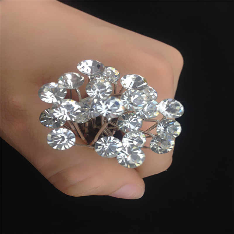 20 Pcs Wanita Pernikahan Bridal untuk Mutiara Kristal Berlian Imitasi Diamante Pin Rambut Bunga Rambut Kristal Rambut Klip Bridesmaid