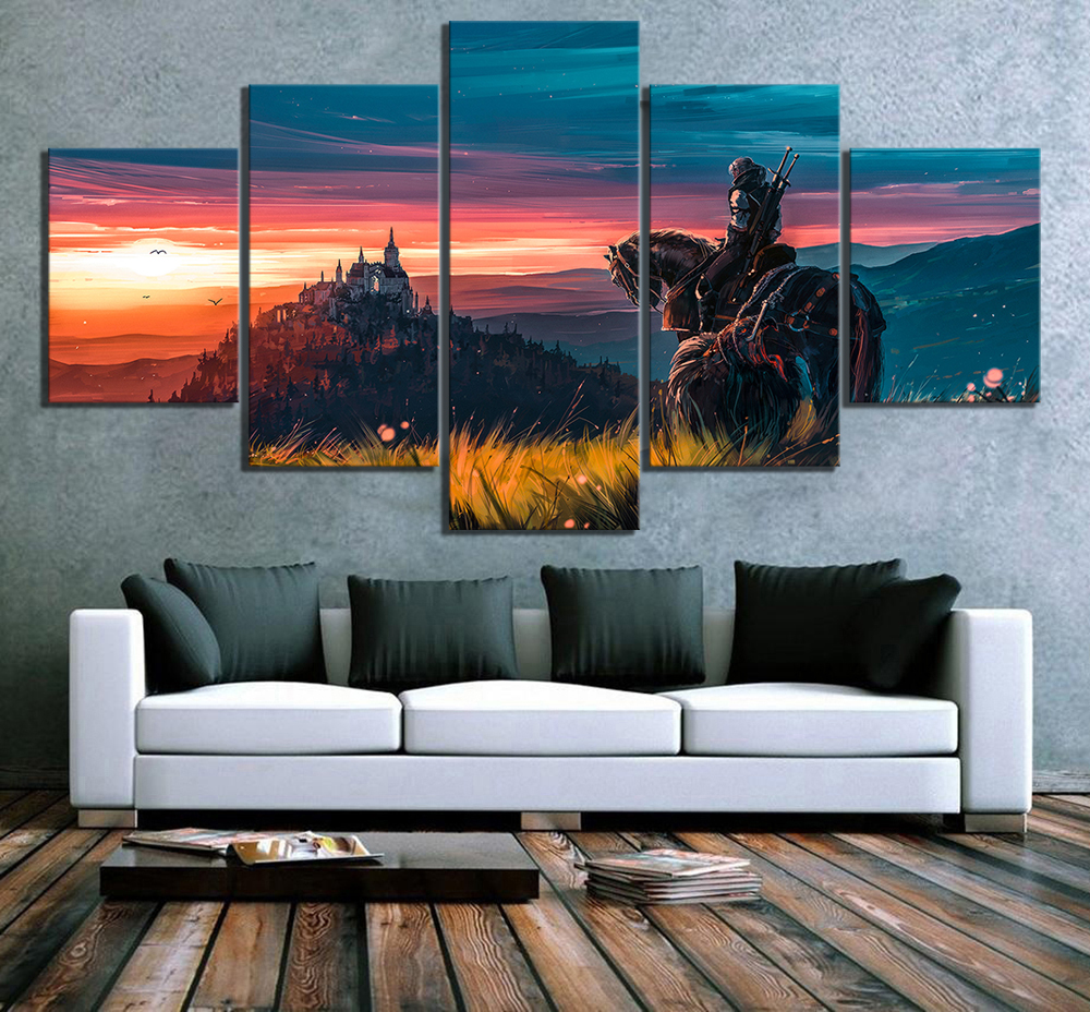 Canvas Painting Home Decoration 5 Pieces The Witcher 3 Wild Hunt Game Wall Art Prints Pictures Modular Poster For Living Room