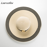 Laurashow Wide Brim Sun Hats For Women Bow Panama Straw Hat Floppy Beach Ladies Caps Chapeu Summer Feminino
