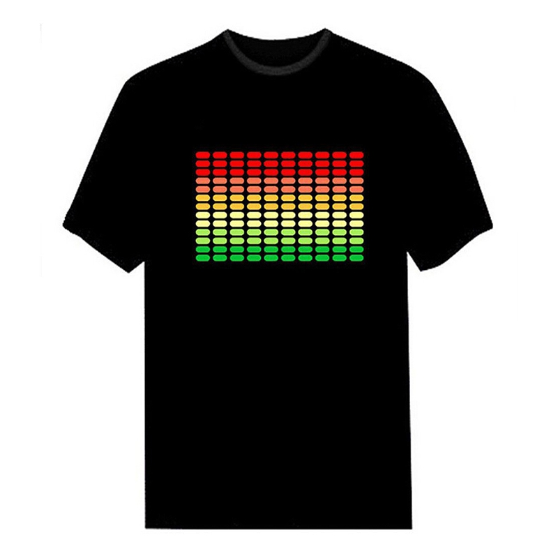 Men Sound Activated Led T-Shirt Light Up Flashing Rock Disco Equalizer Short Sleeve Led T Shirt XXL