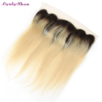 Lynlyshan Blonde Straight Hair Bundles With Frontal Dark Roots 1b 613 Indian Human Hair Weave Lace Frontal Closure With Bundles