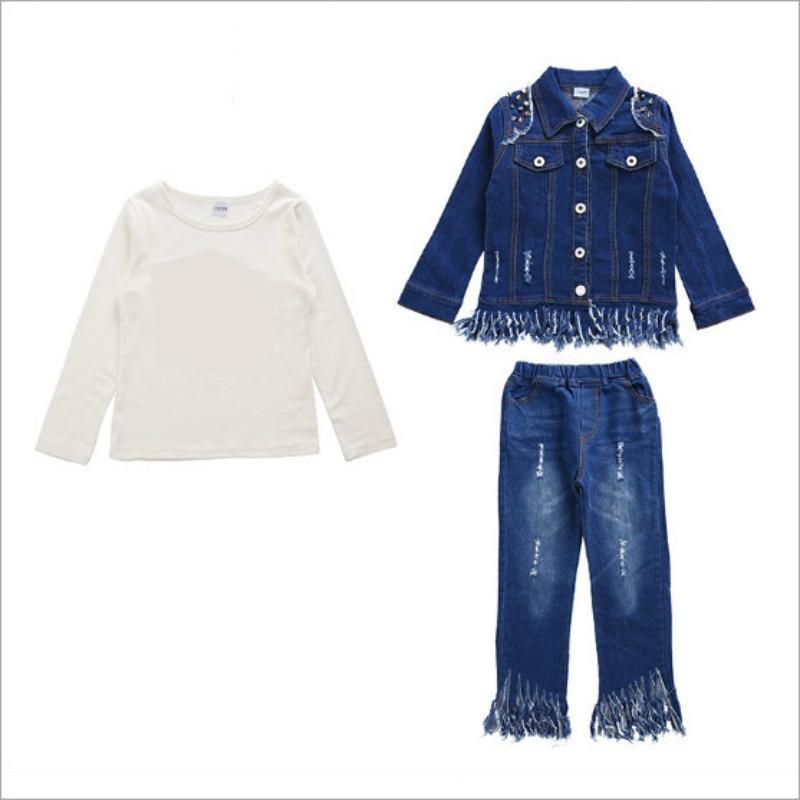 kids clothes Childrens wear 2019 new denim spring  autumn girls girl suit