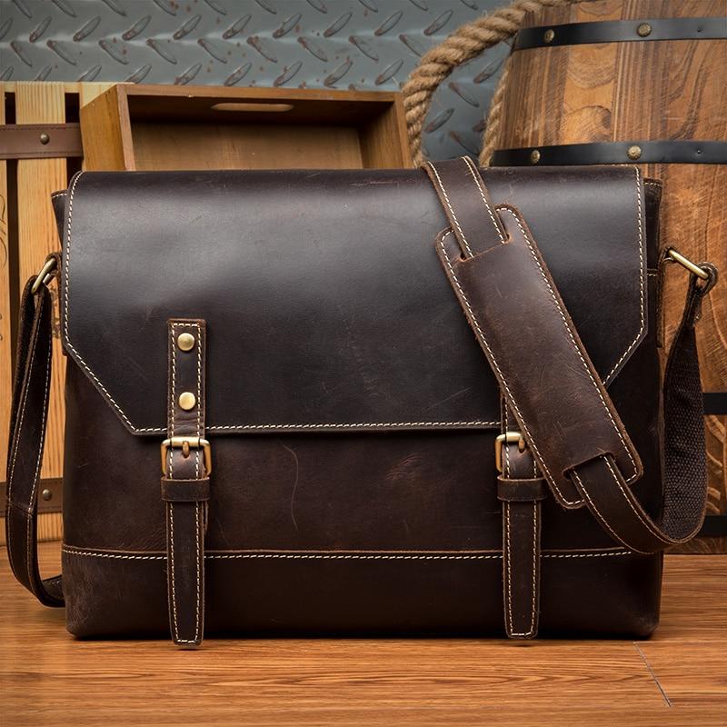 2018 Genuine Leather Messenger Bags Men Crazy Horse Leather Multifunction Shoulder Crossbody Bag Vintage Casual Satchels for Men цены онлайн