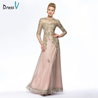Dressv Long Mother Of The Bride Dress Jewel Neck A Line Long Sleeves Beading Lace Elegant Custom Wedding Party Mother Dress