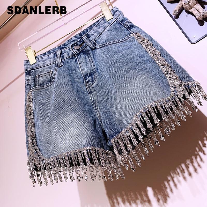Rhinestone Tassel High Waist Denim   Shorts   Women Summer Fashion Diamonds Heavy Work Wide Leg Jeans   Shorts