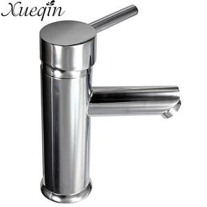 Image 4 - Xueqin Messing Einzigen Handgriff Bad Chrom Mischbatterie Waschbecken Bad Heißer/Kaltwasser Einzigen Loch Küche Becken Wasserhahn Deck montiert