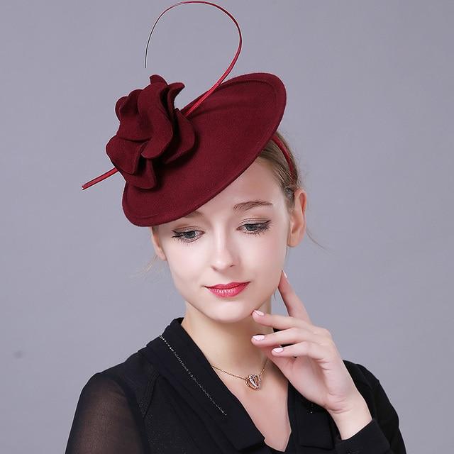Fashion wool felt Fascinator Hat Hair headband Women Ostrich rods Wedding  Party Bridal Hat Fascinator Ladies Dress Hair Headband 76f9823db39