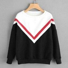 Winter Fashion Women Sweatshirt Long Sleeve Patchwork Pullover Ladies Girls Casual Tops Blouse