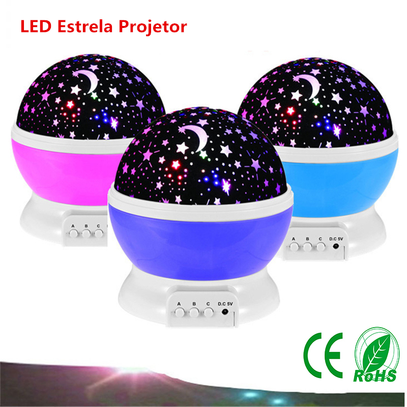 Night Light Projector Lamp Rotary Flashing Starry Star Moon Sky Star Projector Baby Kids Children's