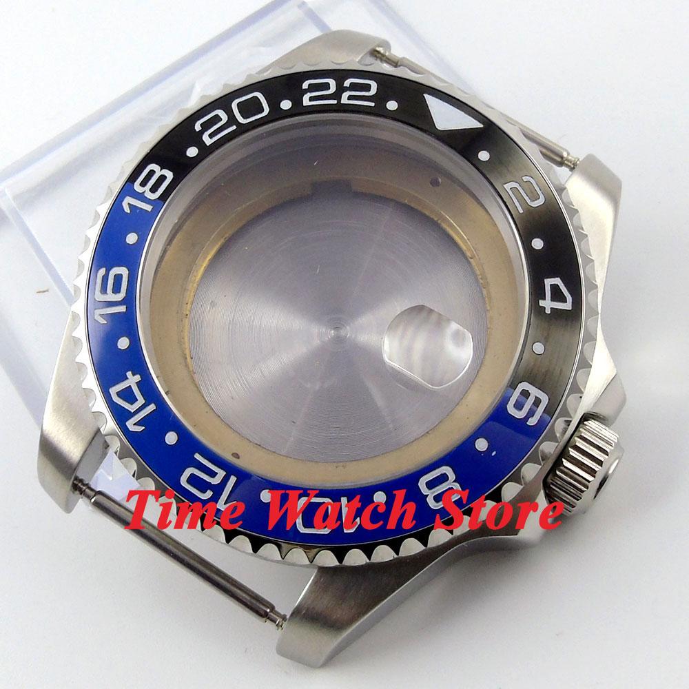 43mm verre Saphir noir et bleu lunette en céramique Montre en acier inoxydable Cas fit ETA 2824 2836 mouvement 50