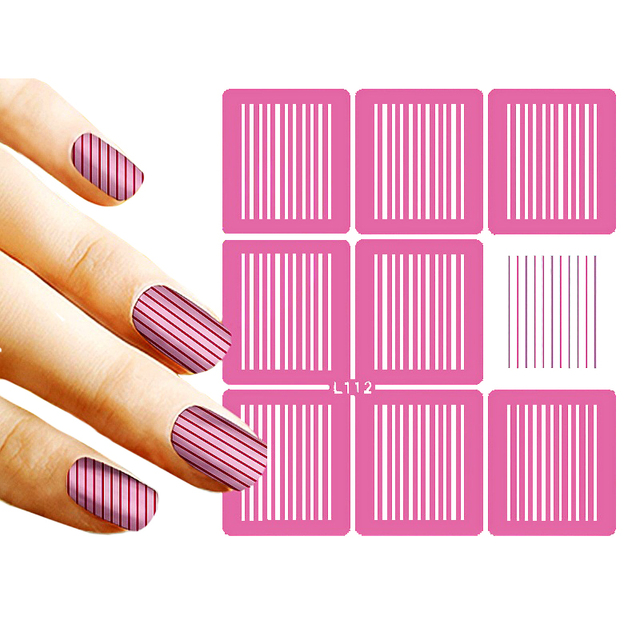 9 Tips Sheet Nail Vinyls Vertical Stripes Art Stencils Holo Stencil Stickers L112