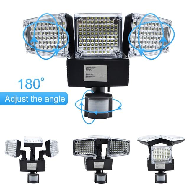 1000LM 188 LED Solar Light Motion Sensor Security Lamp Waterproof Three Head Outdoor Light For Entryways, Patio, Yard, Gardren 5