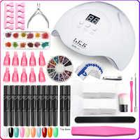 LKE Manicure Set For Beginner's 12pcs Semi-permanant Nail Gel Pen Manicure Set 15 LEDs Nail lamp Nail Set Tools For Manicure