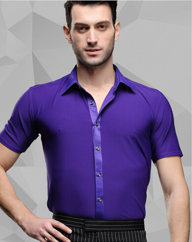 Picture of 2016 Spring And Summer Purple Short-Sleeve Shirt Purple Male Adult Modern Dance Clothes Latin Dance Samba Performance Wear