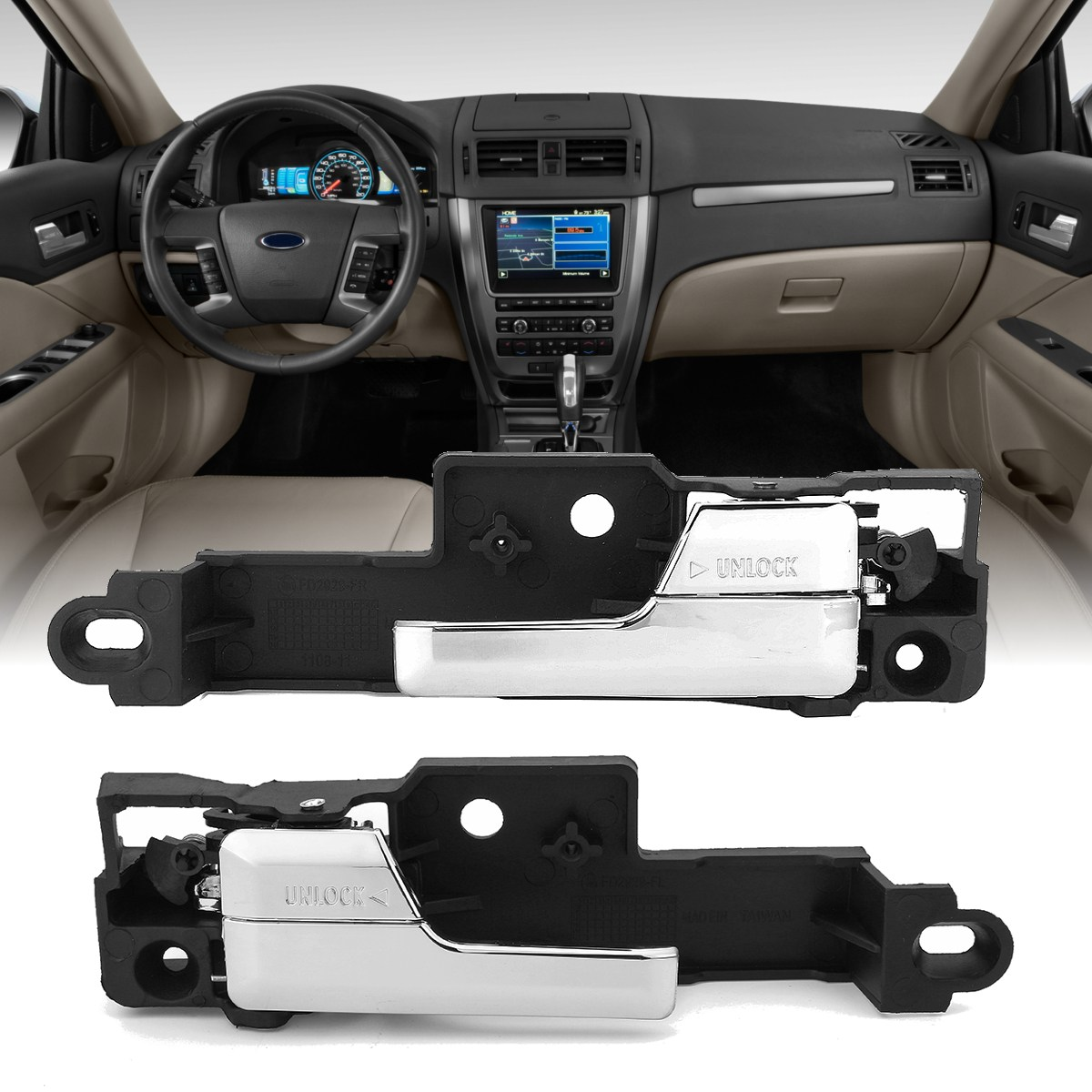 Pair Chrome Front Left Right Inner Door Handle For Ford