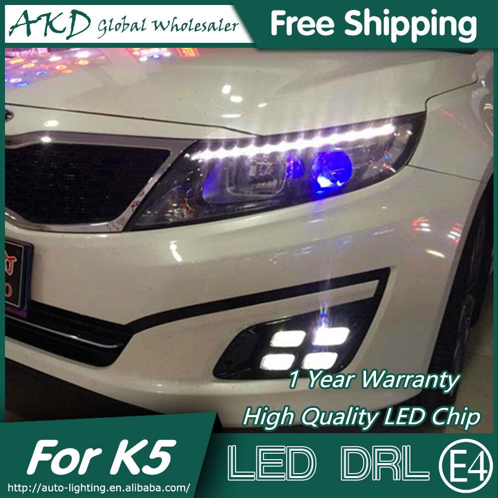 AKD Car Styling for Kia K5 DRL 2014-2015 New Optima LED DRL Korea Design LED Running Light Fog Light Parking Accessories akd car styling led drl for kia k2 2012 2014 new rio eye brow light led external lamp signal parking accessories