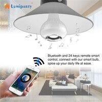 Lumiparty Bezprzewodowy Głośnik Bluetooth + 12 W Żarówka E27 Lampa LED RGB 100-240 V 110 V 220 V Światła Led Smart Muzyki Odtwarzacz Audio z Remot