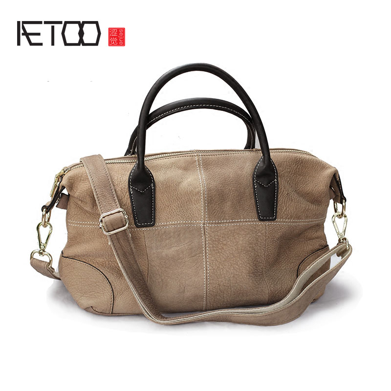 AETOO Europe and the United States leather handbags soft leather leather European head of the first layer of leather bags retro europe and the united states style first layer of leather lychee handbag fashion retro large capacity solid business travel bus