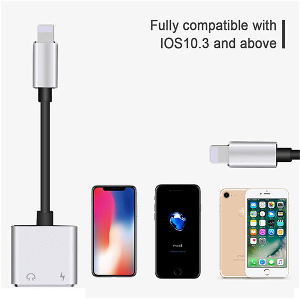 2 in 1 Dual Lighting Audio Charging Adapter For iphone 7 8 Plus X XR XS Mini Earphone Jack AUX Audio Splitter Charge Converter in Phone Adapters Converters from Cellphones Telecommunications