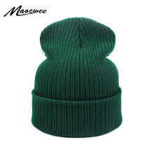 671b083f78d New Fashion Winter Hat Women Man Green Hat Skullies Beanie Unisex Warm Hats  Knitted Cap for Men Beanies Simple Warm Soft Cap