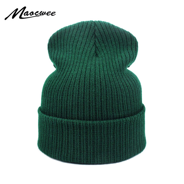 New Fashion Winter Hat Women Man Green Hat Skullies Beanie Unisex Warm Hats  Knitted Cap for Men Beanies Simple Warm Soft Cap e017bc9950d