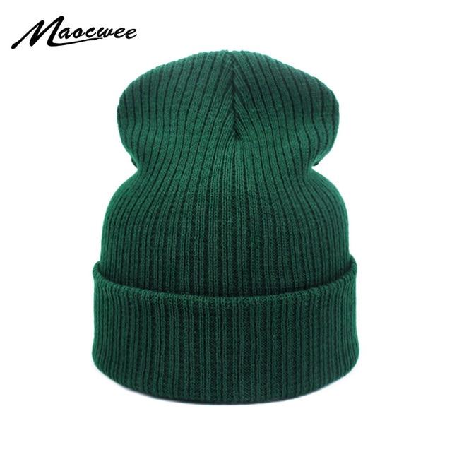 New Fashion Winter Hat Women Man Green Hat Skullies Beanie Unisex Warm Hats  Knitted Cap for Men Beanies Simple Warm Soft Cap 723b86ea6e6