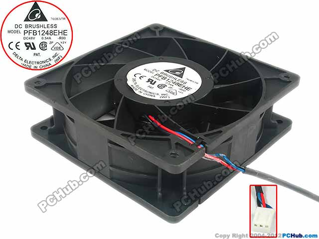 Delta Electronics PFB1248EHE R00 Server Square Fan DC 48V 0.54A 120x120x38mm 3-wire delta 12038 12v cooling fan afb1212ehe afb1212he afb1212hhe afb1212le afb1212she afb1212vhe afb1212me