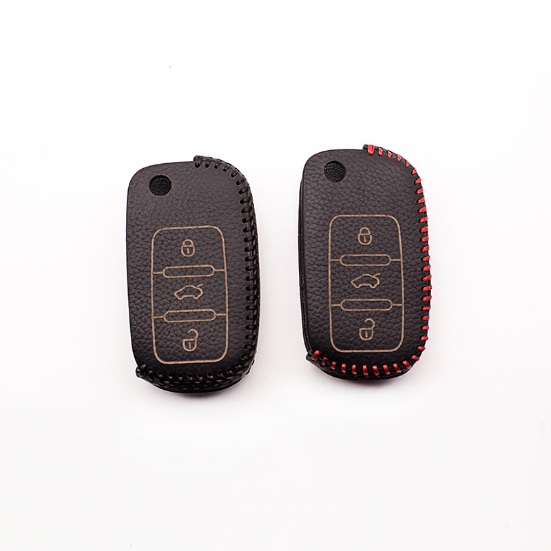 High quality hand stitched leather car key bag for Volkswagen Jetta Tiguan Passat POLO Golf For Skoda A5 3button button cover