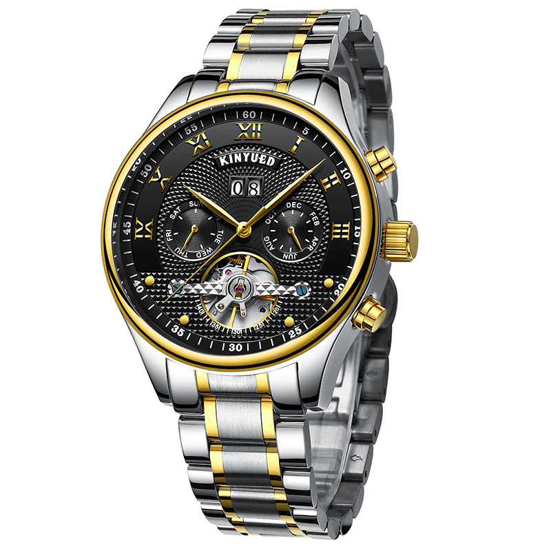 Luminous Hands Mechanical Men's Watch Luxury Business Automatic Self-Wind Watches Fly Tourbillon Male Hours Stainless Steel Band seagull pvd with stainless steel self wind 3 hands exhibition back automatic men s business watch m149sk