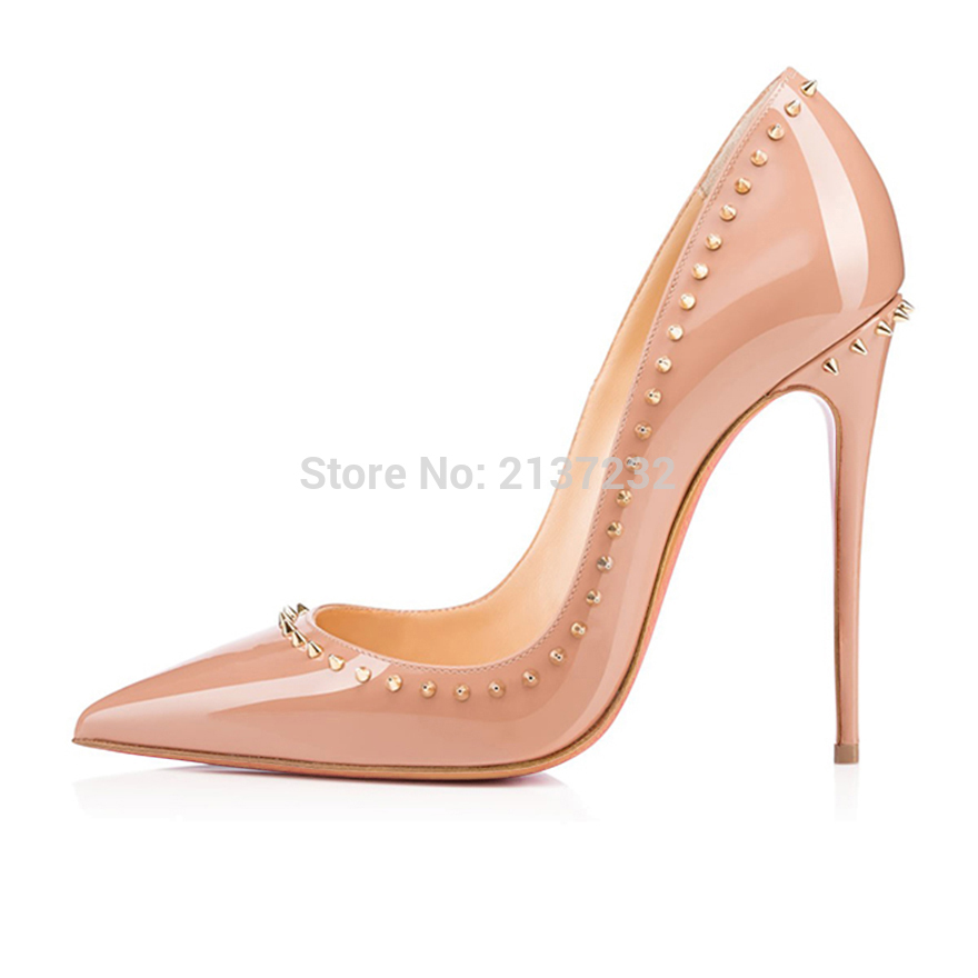 2016 New Fashion rivet high heel Sandals Solid Women's Shoes Pointed Toe stiletto Customize slip-on pumps for party big size5-15 2016 new fashion stiletto high heel women shoes rivet studed winter ladies boots lace up customize madam pumps big size4 15