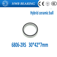 Free Shipping 2PCS 6806 61806 2RS Si3N4 Ceramic Ball Bearing Rubber Sealed BB30 Hubs 30x42x7mm