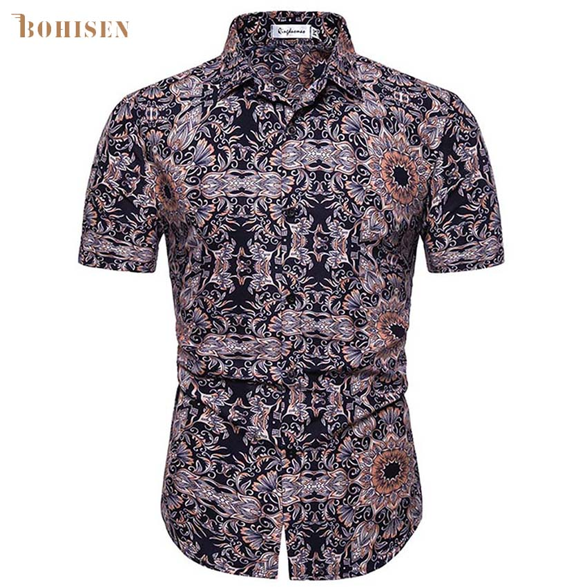 BOHISEN Men African Print Clothes Dashiki Polo Neck Short Sleeve African Dresses For Male Tops Shirt Casual Men Clothing