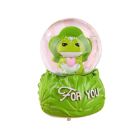 Cartoon Travel Frog Snow Drifting Crystal Ball Music Box Gifts For The New Year Creative Resin Craft   Home   Decoration   Accessories