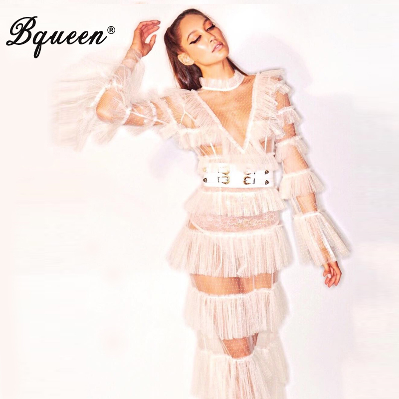 Bqueen 2019 Sexy Solide Moulante Dentelle Empire Automne Étage Longueur Grown Robe Robe