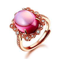 Natural Pink Topaz Rings For Women Real 925 Sterling Silver Fine Jewelry Adjustable Water Drop Big