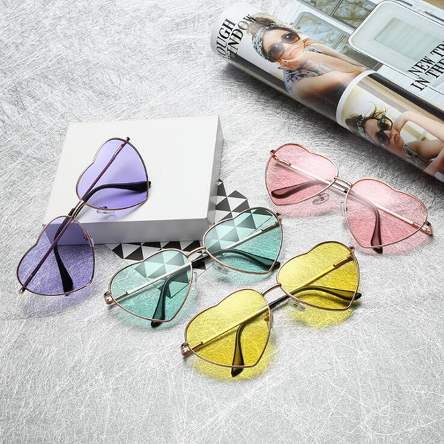 Heart Shaped sunglasses woman Lovely shades Sun Glasses for women candy color metal frame girl sunglass mirror lunette soleil