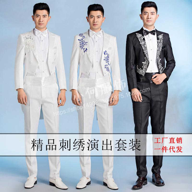 new 2018 male singer costumes tuxedo suits two MC host embroidered suit