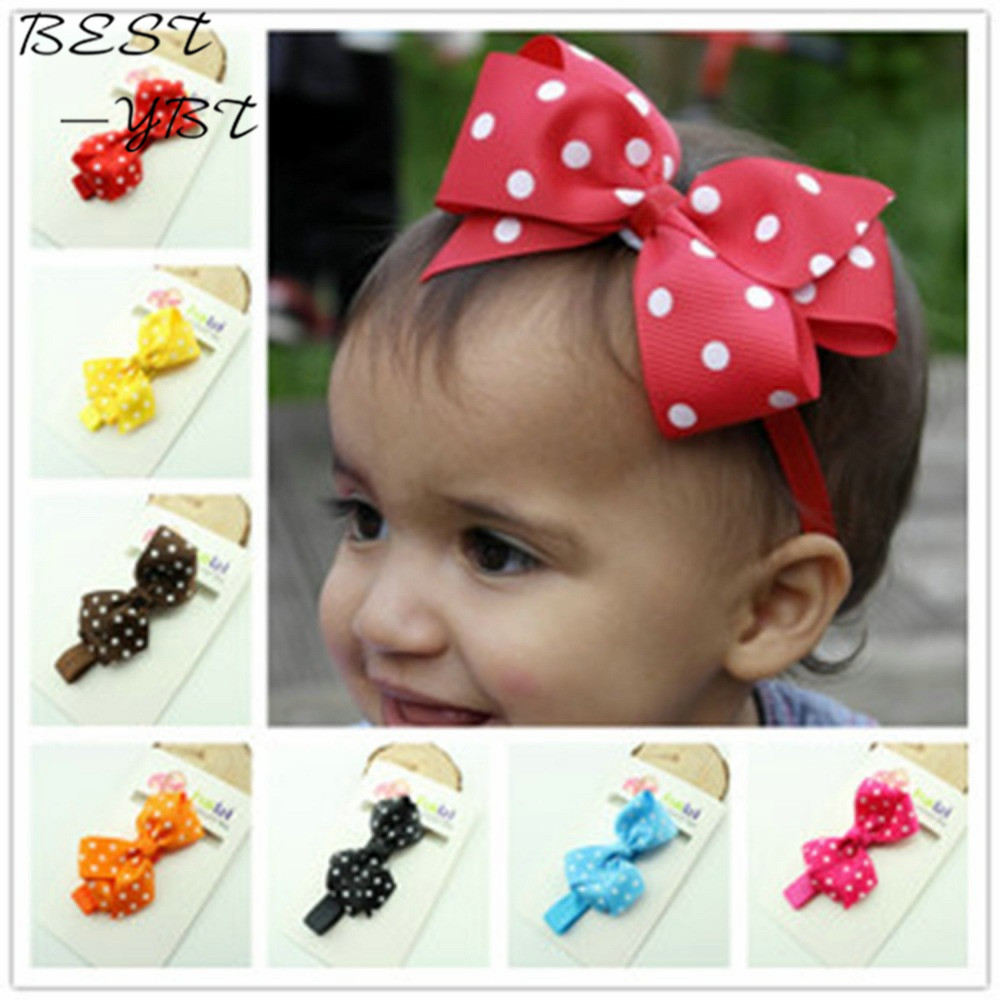 15 Colors Ribbon Polka Dot Hair Bows Headband Baby Girl Hair Accessories Children Hair Bow Elastic Infant Kids Hairband free shipping 2 colors newborn kid girl elastic flower headband hairband hair accessories