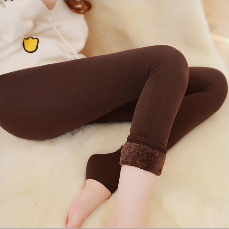 2018 Super Elastic Leggins Velvet   legging   Women Autumn Winter Warm fleece Female Plus Size Velvet black Stretchy pants