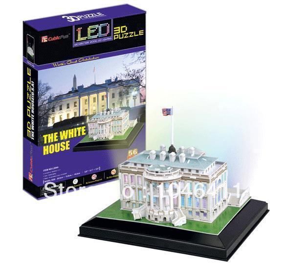 White House LED light CubicFun 3D educational puzzle Paper & EPS Model Papercraft Home Adornment for christmas gift