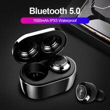 TWS Verdadeiro Fones de Ouvido Estéreo Sem Fio Bluetooth 5.0 Fone De Ouvido Sem Fio Fone De Ouvido Handsfree Esportes À Prova D Água Com caixa de Carga