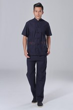 Hot Sale Navy Blue Vintage Chinese Men s Cotton Linen Shirt Pants Kung Fu font b