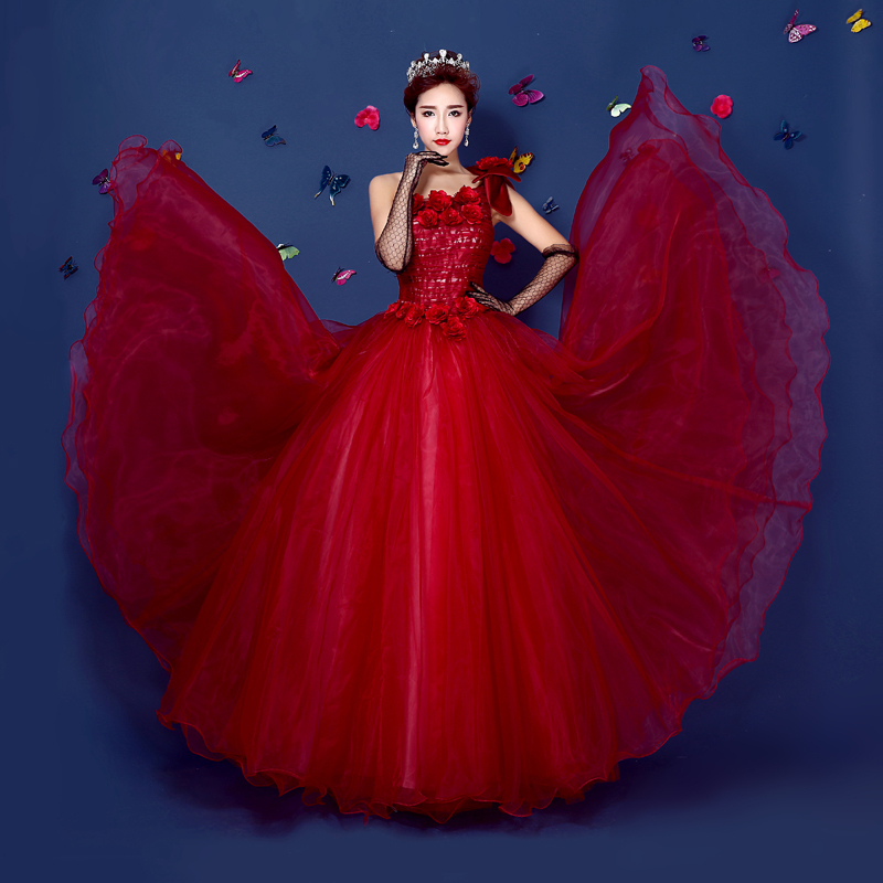 red lace flowers bowknot ball gown Medieval Renaissance Gown princess Victorian Marie victorian Belle Ball gown