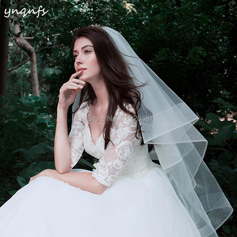 Real Pictures Double Layers Boned Edge Voile De Mariee Velo Simple Blusher Veil Wedding Veil  Bridal Veil YNQNFS V61 2019
