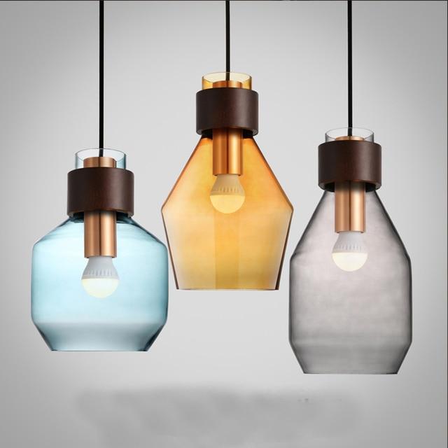 Modern nordic colorful glass pendant lightgrayblueamber glass modern nordic colorful glass pendant lightgrayblueamber glass lampshade indoor lighting aloadofball Images