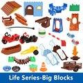 Serie de la vida DIY Accesorios de Bloque de Construcción Juguetes Educativos Del Bebé Silla De Mesa Árbol Hierba Balsa Placa Escalera Compatibles con Duplo