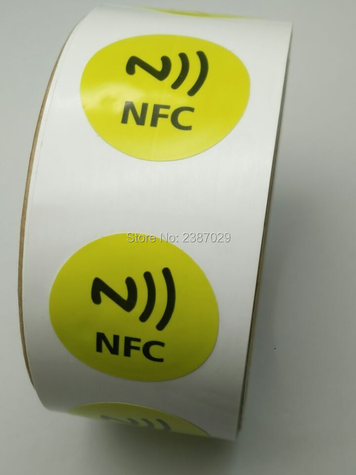5pcs/lot 30mm rfid 13.56mhz small paper nfc tag sticker label with ntag213 chip for Android mobile phone payment application