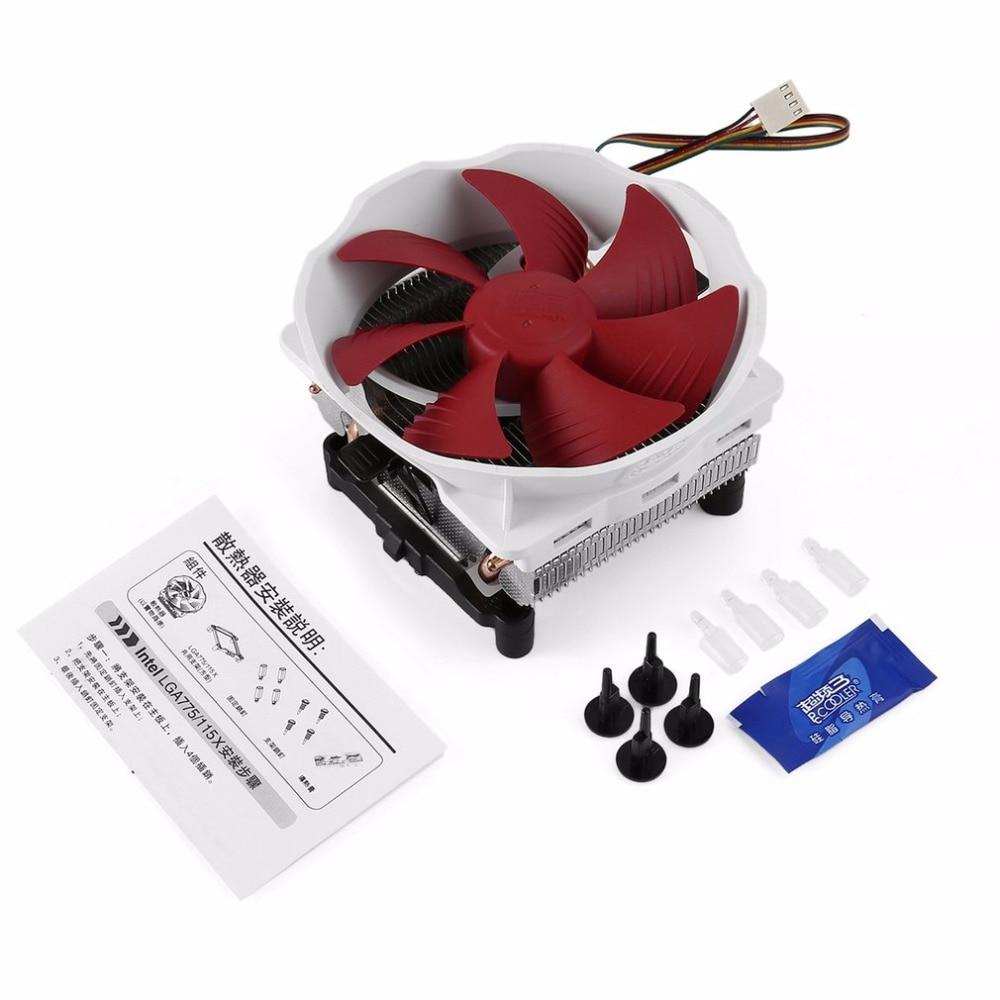 Низкая Шум тихий ПК охладитель воздушный поток Алюминий компьютер Процессор радиатора 120 мм вентилятор охлаждения Медь тепловые трубки