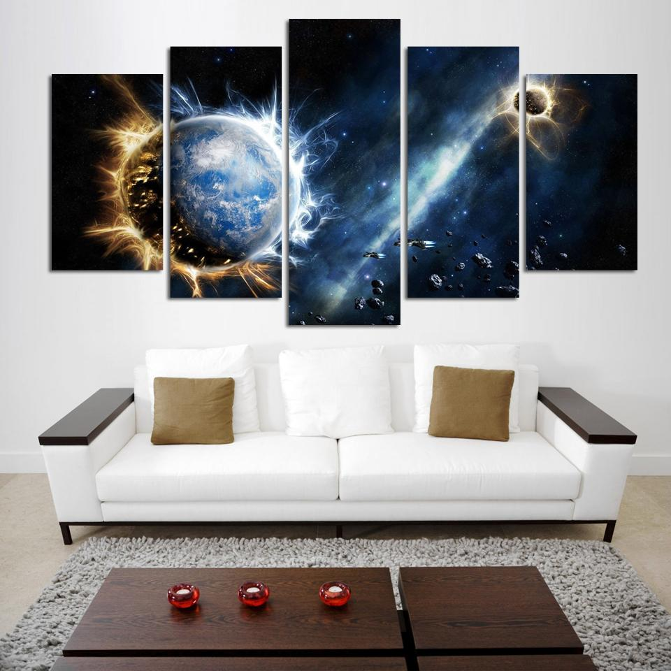 ▻5 Panel Modern Printed Space Universe Landscape Paintings Canvas ...